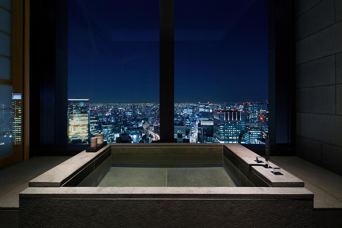 Traditional furo soaking tub